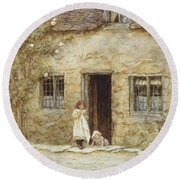 At The Cottage Door Round Beach Towel