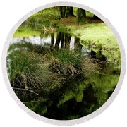 At The Edge Of The Forest Pond. Round Beach Towel