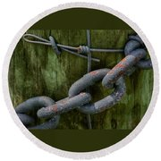 At The Fence Gate - Chain, Wire, And Post Round Beach Towel