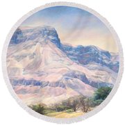 At The Foot Of Mountains Round Beach Towel