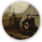 At The Front Round Beach Towel by George Cochran Lambdin