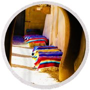 At The Hacienda Round Beach Towel