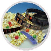At The Movies  Round Beach Towel