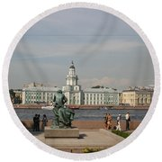 At The Newa - St. Petersburg Russia Round Beach Towel