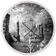 At The Old Gate Round Beach Towel