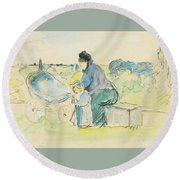 At The Park Round Beach Towel