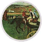 At The Races, Digitally Enhanced, Edgar Degas, Digitally Enhanced Maximum Resolution Round Beach Towel