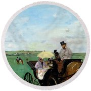At The Races In The Countryside,  Round Beach Towel