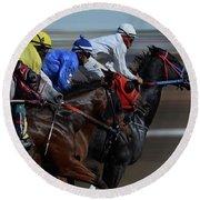 At The Racetrack 1 Round Beach Towel