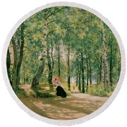 At The Summer Cottage Round Beach Towel