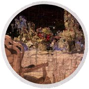 At The Table Round Beach Towel