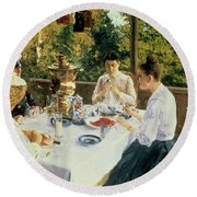 At The Tea-table Round Beach Towel