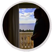 At The Window In Taormina Round Beach Towel
