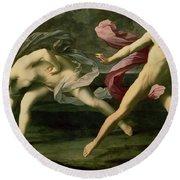 Atalanta And Hippomenes Round Beach Towel
