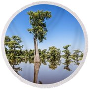 Atchafalaya Cypress Tree Round Beach Towel