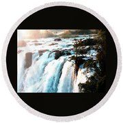 Waterfall Scene For Mia Parker - Sutcliffe L A S Round Beach Towel