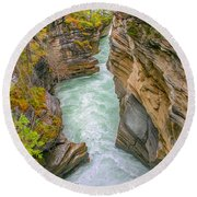 Athabasca River Canyon Round Beach Towel