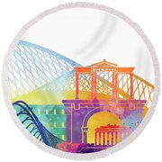 Athens Landmarks Watercolor Poster Round Beach Towel