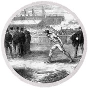 Athletics: Shot Put, 1875 Round Beach Towel