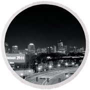 Atlanta Black And White Panorama Round Beach Towel