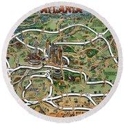 Atlanta Cartoon Map Round Beach Towel