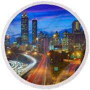 Atlanta Downtown By Night Round Beach Towel