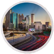 Atlanta Downtown Lights Round Beach Towel