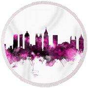 Atlanta Georgia Skyline Pink Round Beach Towel