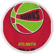 Atlanta Hawks Vintage Basketball Art Round Beach Towel