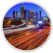 Atlanta Interstate I-85 By Night Round Beach Towel