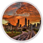 Atlanta Orange Clouds Sunset Capital Of The South Round Beach Towel