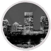 Atlanta Skyline At Night Downtown Midtown Black And White Bw Panorama Round Beach Towel