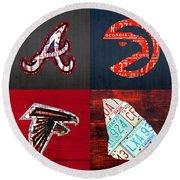 Atlanta Sports Fan Recycled Vintage Georgia License Plate Art Braves Hawks Falcons Plus State Map Round Beach Towel
