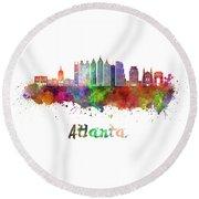 Atlanta V2 Skyline In Watercolor Round Beach Towel