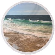 Atlantic Beach Waves Round Beach Towel