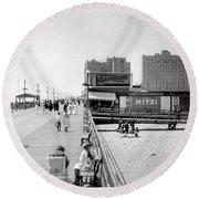 Atlantic City 1920 Boardwalk Promenade, Beach Sand, Signs Apollo Theatre, Mitzi  Round Beach Towel