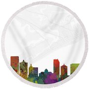 Atlantic City Cityscape And Streetmap Skyline Round Beach Towel