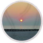 Atlantic City New Jersey - Sunrise On The Beach Round Beach Towel