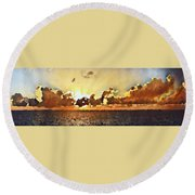 Atlantic Ocean Sunset In Oil  Round Beach Towel