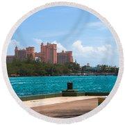 Atlantis Across The Harbor Round Beach Towel