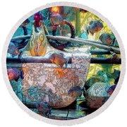 Atlantis Aquarium In Watercolor Round Beach Towel