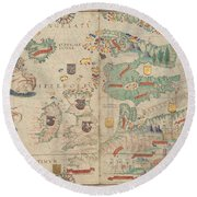 Atlas Miller Nautical Atlas Round Beach Towel