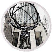 Atlas Sculpture Sketch In New York City Round Beach Towel