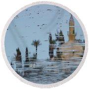 Atmospheric Hala Sultan Tekke Reflection At Larnaca Salt Lake Round Beach Towel