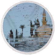 Atmospheric Hala Sultan Tekke Reflection At Larnaca Salt Lake Round Beach Towel
