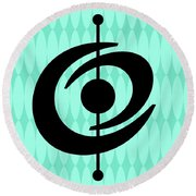 Atomic Shape 2 On Aqua Round Beach Towel