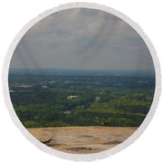 Atop Of Stone Mountain Round Beach Towel