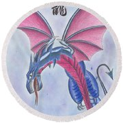 Attack Of The Dragon Round Beach Towel