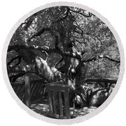 Attack Of The Oak Round Beach Towel