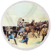 Attack On The Supply Train 1885 Round Beach Towel